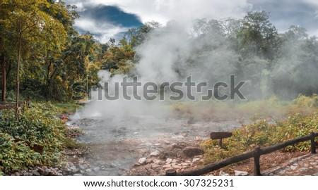 Pong Duad geyser, Huay-nam-dung national park, Chiangmai, Thailand - stock photo