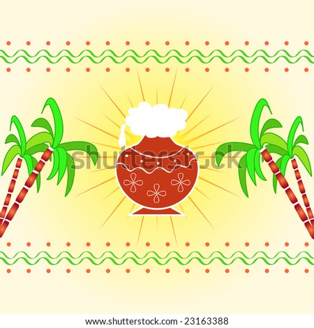 Pongal - The south Indian harvest festival with pot and sugarcane celebrated on 15th January - stock photo