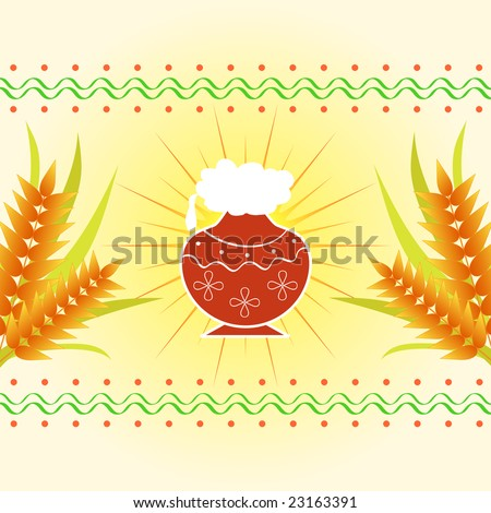 Pongal - The south Indian harvest festival with pot and wheat celebrated on 15th January - stock photo