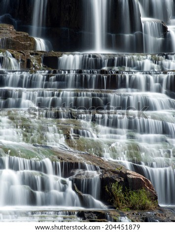 Pongour waterfall in Dalat, Vietnam. Flowing water natural background  - stock photo