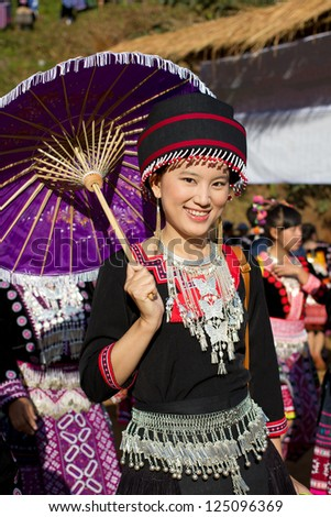 PONGYANG, CHIANGMAI/THAILAND - JANUARY 15: Unidentified traditionally dressed Hmong hill tribe children in Hmong new year festival on January 15, 2013 in Chiangmai, Thailand. - stock photo