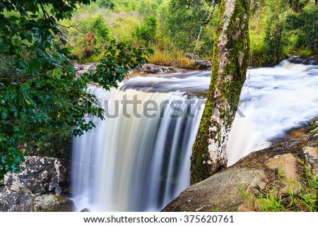 Ponpobmai waterfall in Phu Kradueng National Park, Loei province, Thailand - stock photo