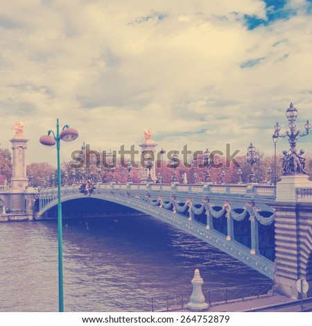 Pont Alexandre III - Bridge over river Seine in Paris, France.  Instagram style filtred image - stock photo