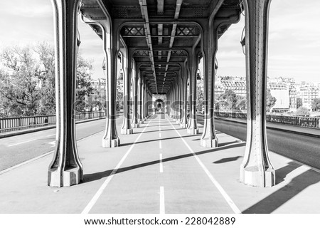 Pont de Bir Hakeim in Paris, France, a bridge for Metro - stock photo