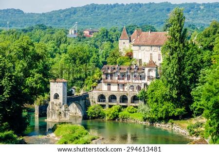 Pont de la Legende on the Gave d'Oloron, France - stock photo