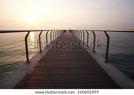 Pont del Petroli bridge. Walkway at Badalona, Spain - stock photo