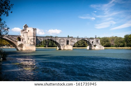 Pont du Avignon and Le Rhone river at Avignon - France - stock photo