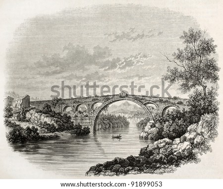 Pont du Diable (devil bridge) old illustration, Ceret, France. Created by Wiesener, published on Magasin Pittoresque, Paris, 1845 - stock photo