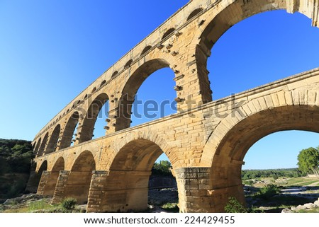 Pont Du Gard Aqueduct, Provence, France - stock photo