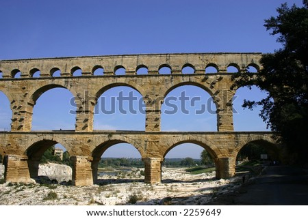 Pont du Gard aqueduct viewed from the river bed