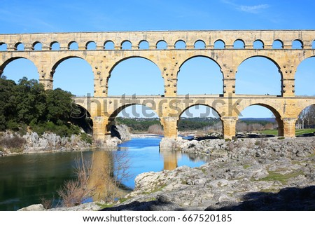 Pont du Gard in South France, Roman Aqueduct, Unesco World Heritage