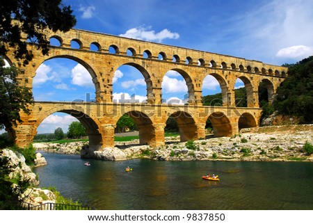 Pont du Gard is a part of Roman aqueduct in southern France near Nimes. - stock photo