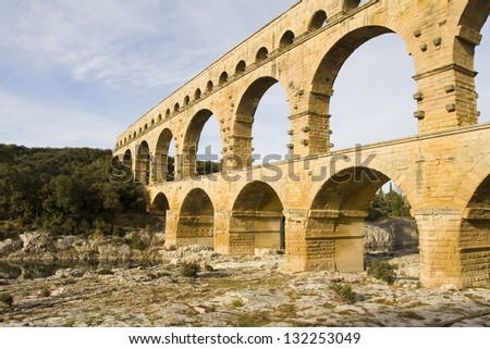 Pont du Gard, the Roman aqueduct of Nimes, France.