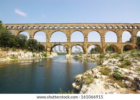 Pont Du Garde ancient Roman aqueduct, France.