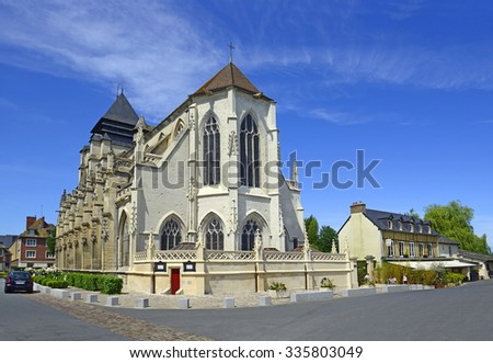 PONT L'EVEQUE, FRANCE - JUNE 28, 2015: Gothic church Saint Michael. Pont-l'Eveque is a commune in the Calvados department in the Basse-Normandie region in northwestern France.