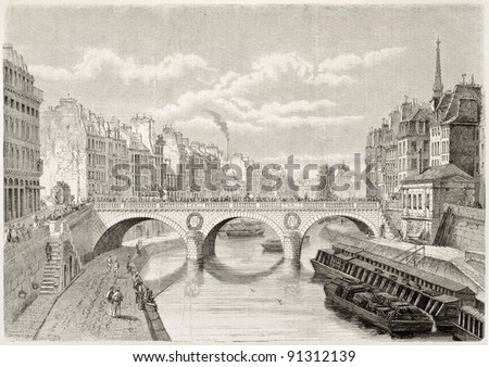 Pont Saint-Michel old view, Paris. Created by Thorigny, published on L'Illustration, Journal Universel, Paris, 1858