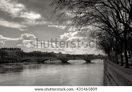 Pont Wilson  over the Rhone River, Lyon France - stock photo
