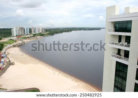 ponta negra beach in manaus, amazon, brazil - stock photo