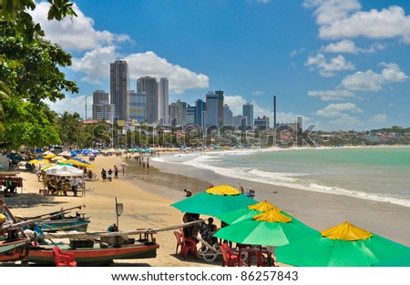 Ponta Negra beach with buildings in Natal city - Brazil - stock photo