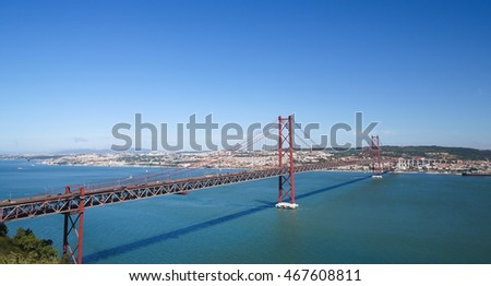 Ponte 25 de Abril across the Tagus river and view on the center of Lisbon, Portugal