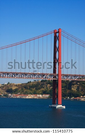 Ponte 25 de Abril.  The Ponte 25 de Abril is a suspension bridge across the river Tejo linking the cities of Lisbon and Almada in Portugal.