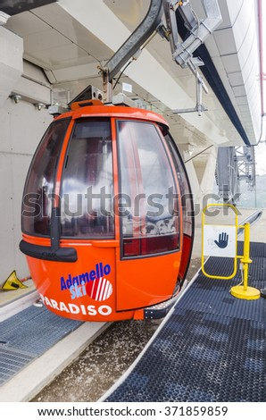 PONTE DE LERGNO,ITALY - JULY 03, 2013:  Cableway and funicular railway in the Alps mountains. Summer Italy