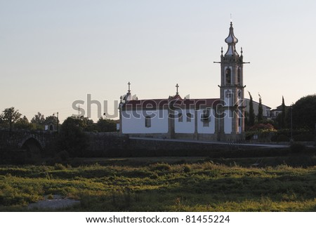 Ponte de Lima Church at the sunset - stock photo