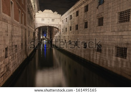 Ponte dei Sospiri in Venice Italy, long exposure photo by night - stock photo