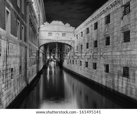 Ponte dei Sospiri in Venice Italy, long exposure photo by night, black and white - stock photo