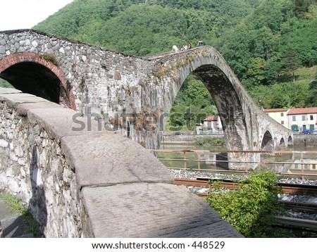 Ponte Della Maddalena, near Bagni di Lucca, Tuscany. Italy  - stock photo