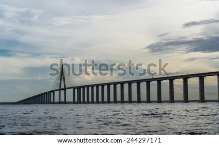 Ponte Rio Negro, a bridge over the Rio Negro with 3595 meters of length that links the cities of Manaus and Iranduba - stock photo