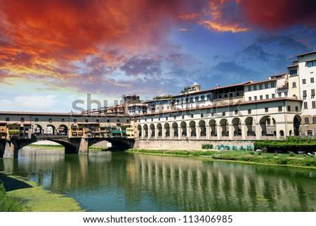 Ponte Veccchio - Old Bridge in Florence with Lungarni - Italy - stock photo