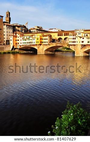 Ponte Vecchio at sunset, Florence - stock photo