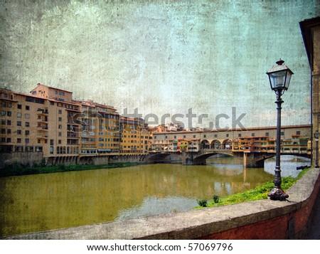 Ponte Vecchio, Florence, Italy, grunge version - stock photo