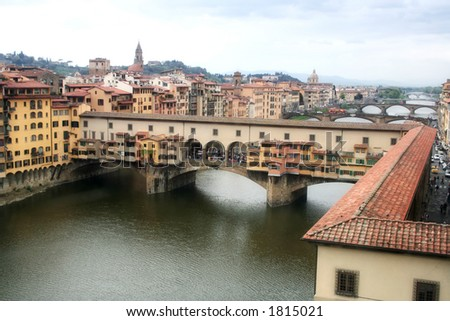 Ponte Vecchio (old bridge) in Florence Italy.A two floor bridge:one was reserved to governors