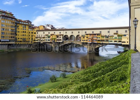 Ponte Vecchio over the river Arno in Florence.