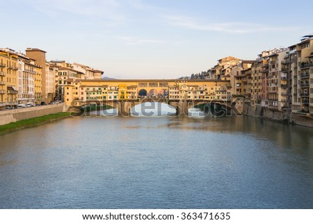 Ponte Vecchio sunset (Florence - Italy) - Beautiful bridge with old golden shops inside during sunset on 03/31/2014
