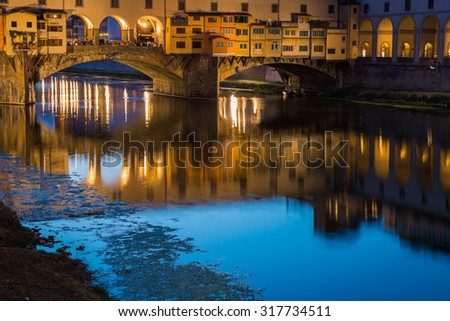 Ponte Vecchio, the old bridge over the Arno river in Florence