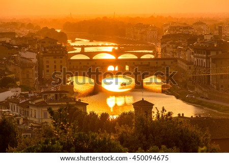 Ponte Vecchio with sunset view
