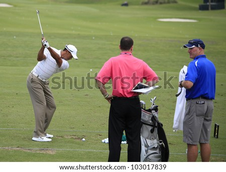 PONTE VEDRA, FL - MAY 08: Tiger Woods  (USA) practices at The Players championship, PGA Tour, on practice day May 08, 2012, at The TPC Sawgrass, Ponte Vedra, Florida, USA.