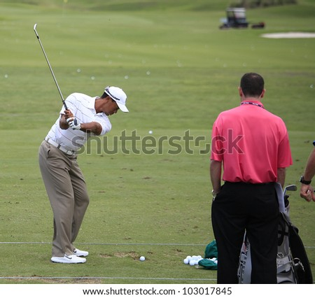 PONTE VEDRA, FL - MAY 08: Tiger Woods  (USA) practices at The Players championship, PGA Tour, on practice day May 08, 2012, at The TPC Sawgrass, Ponte Vedra, Florida, USA. - stock photo