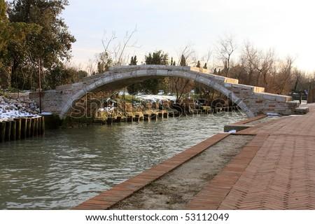 """Pontel del Diavolo - the """"Devil's Bridge"""" in Torcello, Venice - stock photo"""