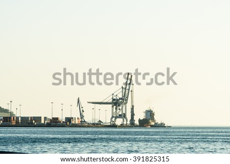 PONTEVEDRA, SPAIN - JUNE 20, 2015: Detail of the port of merchandise in Marin, within the Ria de Pontevedra, in Galicia. - stock photo