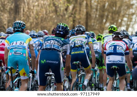PONTICINO, AREZZO, ITALY - MARCH 08: Group of cyclists compete during the 2nd stage of 2012 Tirreno-Adriatico on March 08, 2012 in Ponticino, Arezzo, Italy - stock photo