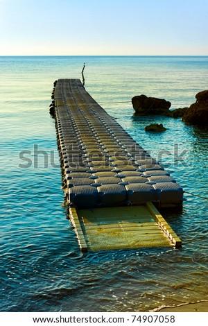 pontoon pier in turkey - stock photo