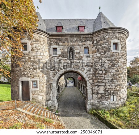 Ponttor - medieval city gate in Aachen, Germany - stock photo