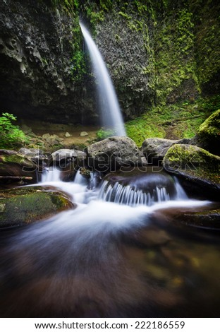 Ponytail falls in the Columbia River Gorge - stock photo