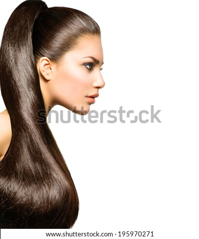 Ponytail Hairstyle. Beauty Brunette Fashion Model Girl with Long Healthy Straight Brown Hair. Beautiful Woman with brown long Healthy Smooth Straight hair  - stock photo