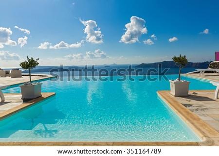 Pool amid a beautiful Maritime landscape, Greece - stock photo