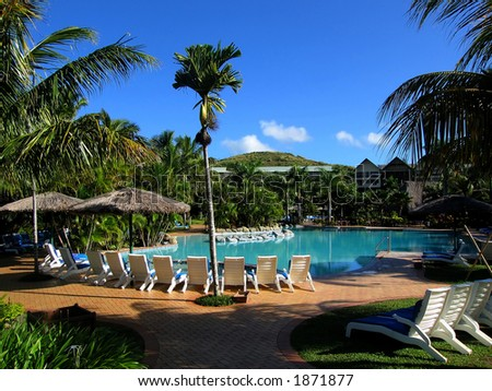 Pool and blue sky (Resort at Fiji) - stock photo